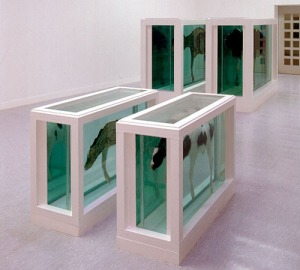Damien Hirst, Mother and Child, Divided, 1993. Steel, GRP composites, glass, silicone sealants, cow, calf, formaldehyde solution; dimensions variable
